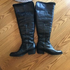 Born tall black leather shearling lined boots